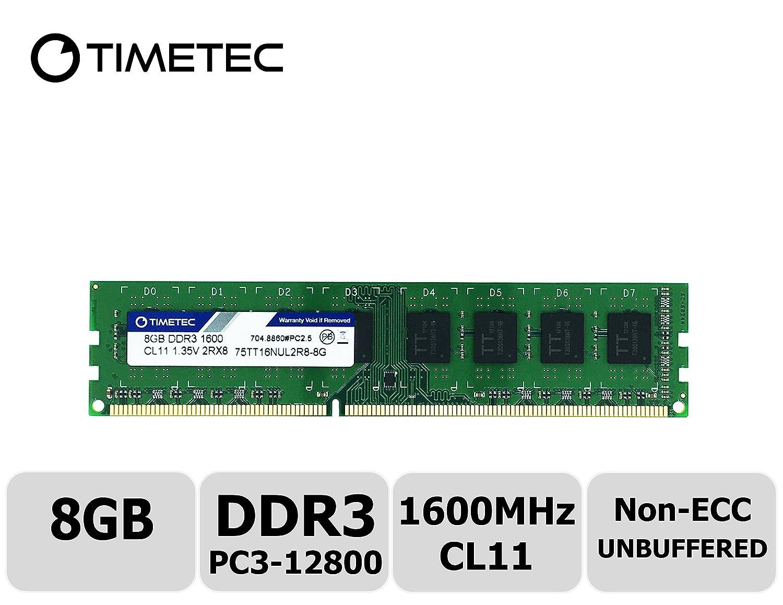 Timetec Hynix IC 8GB Kit 8GB Kit DDR3L 1600MHz PC3-12800 Unbuffered Non-ECC 1.35V CL11 2Rx8 Dual Rank 240 Pin UDIMM Bureau M/émoire RAM Module Upgrade 2x4GB 2x4GB