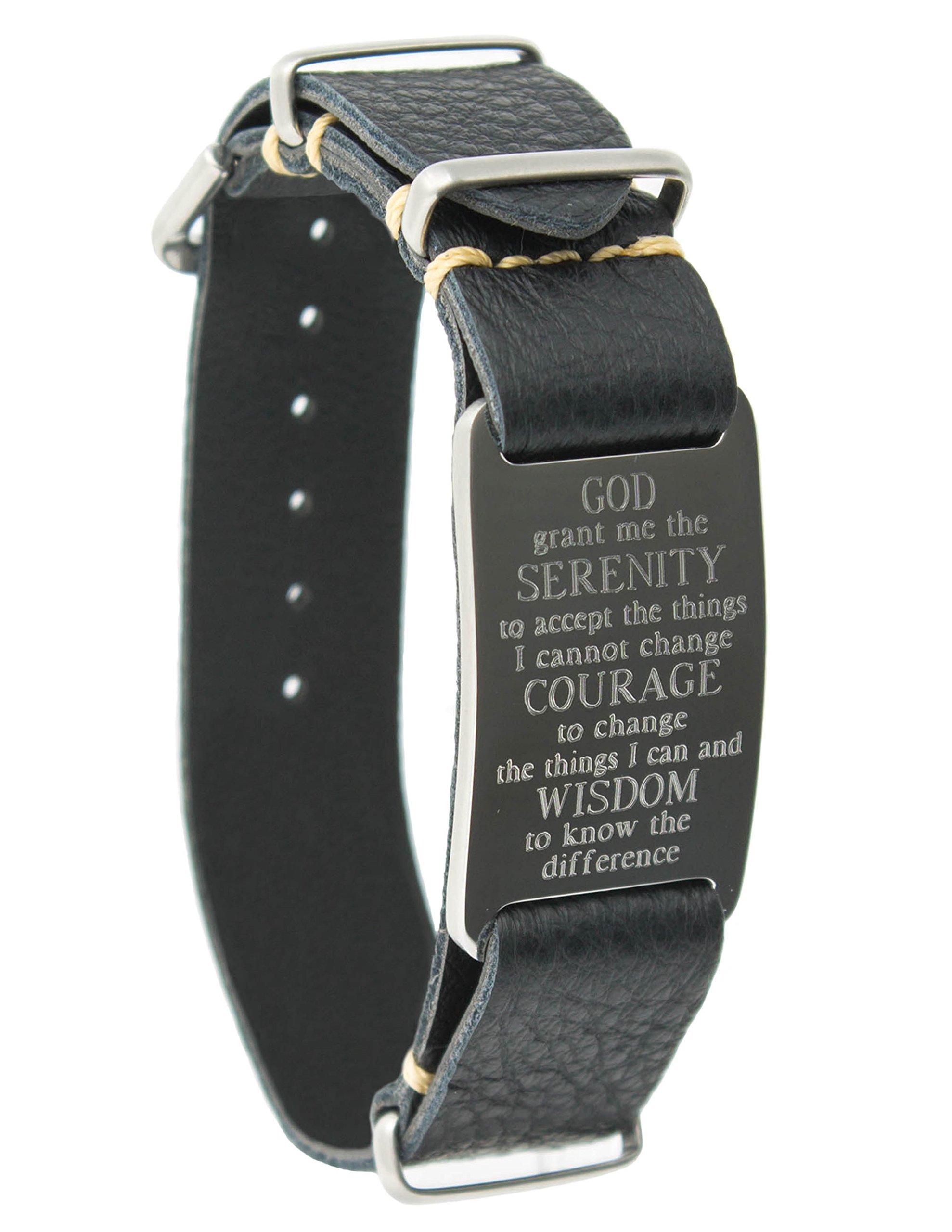 Dakota Leather Wrap Bracelet with Serenity Prayer ID Plate (Black)