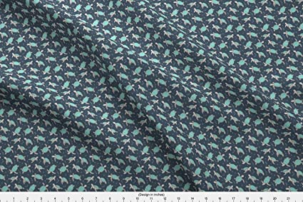 Spoonflower Sea Turtle Fabric Sea Turtles Green Mint Nautical Ocean On Dark  Blue Navy Tiny Small by Caja Design Printed on Cotton Spandex Jersey