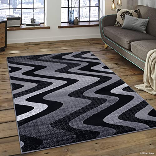 Allstar 5×7 Grey and Gainsboror Grey Modern and Contemporary Rectangular Accent Rug with Charcoal Grey Wavy Zigzag Design 4 11 x 6 11