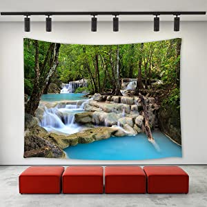 LBKT Green Forest River Stream Waterfall Tapestry Wall Hanging Spring Landscape Wall Decor Art for Living Room Bedroom Dorm Decoration 90 X 60 Inches