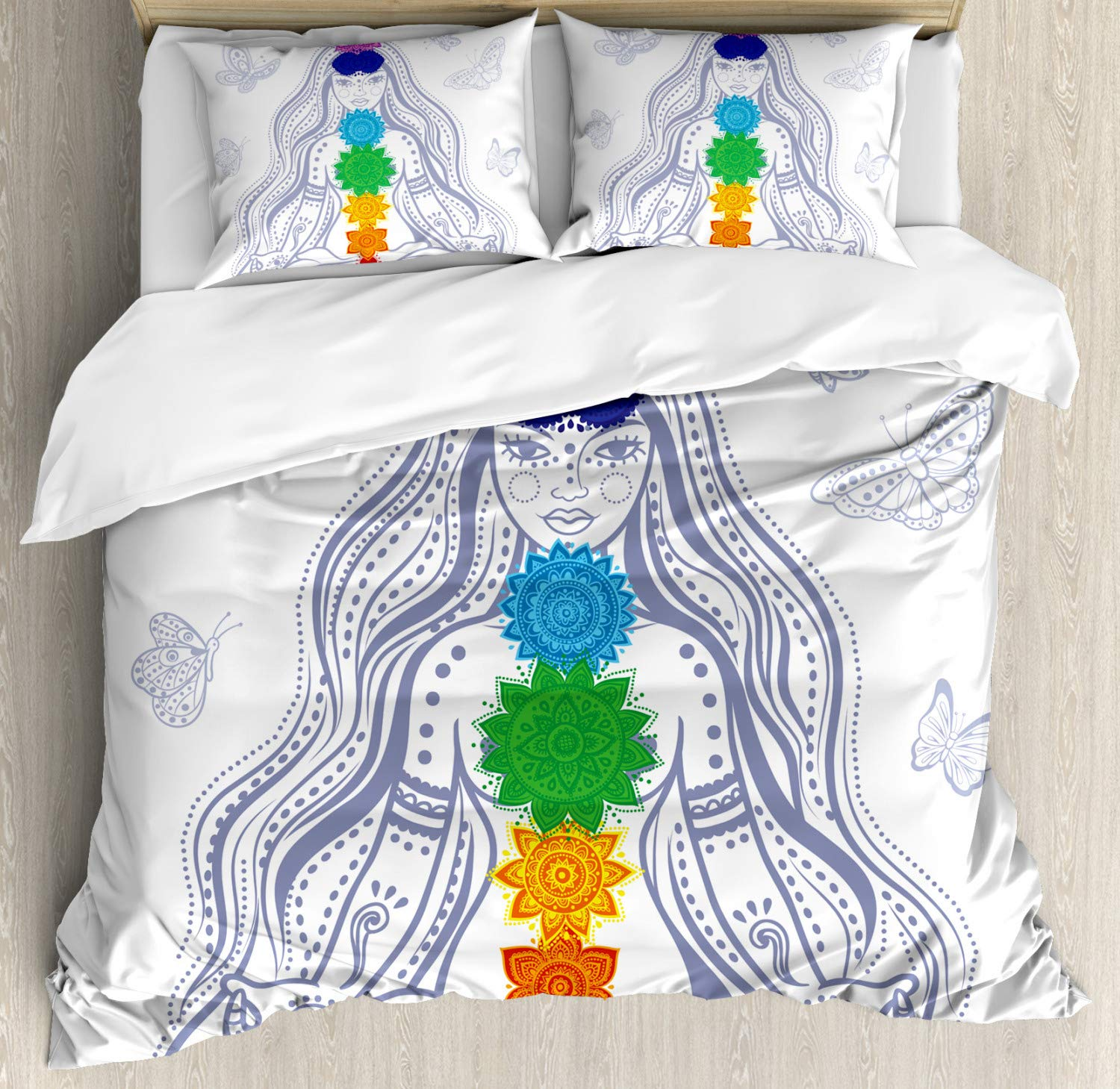 Decorative 3 Piece Bedding Set with 2 Pillow Shams Abstract Wave Design Ocean Themed Marine Life Pattern Print Blue Mint Green nev/_43041/_king Ambesonne Teal Duvet Cover Set King Size