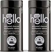 Hello Activated Charcoal Whitening Toothpaste Tablets with Natural Mint, 2 Count (60 Tabs Total) | Fluoride Free, Travel Fri