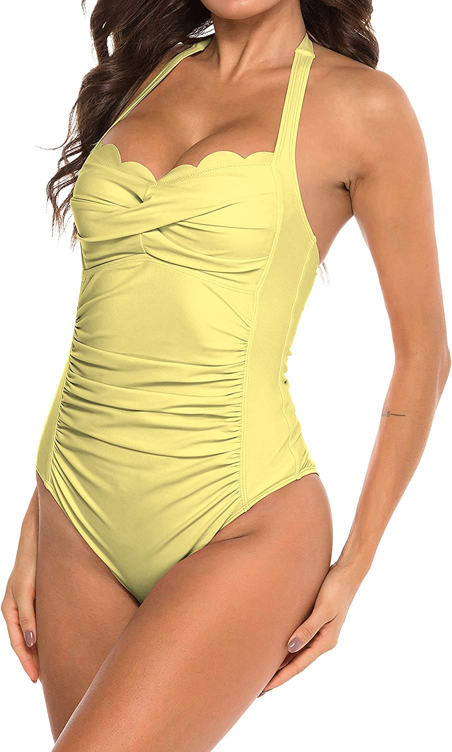 B2prity Womens One Piece Swimsuit Tummy Control Bathing Suit Halter Neck Ruched Swimwear