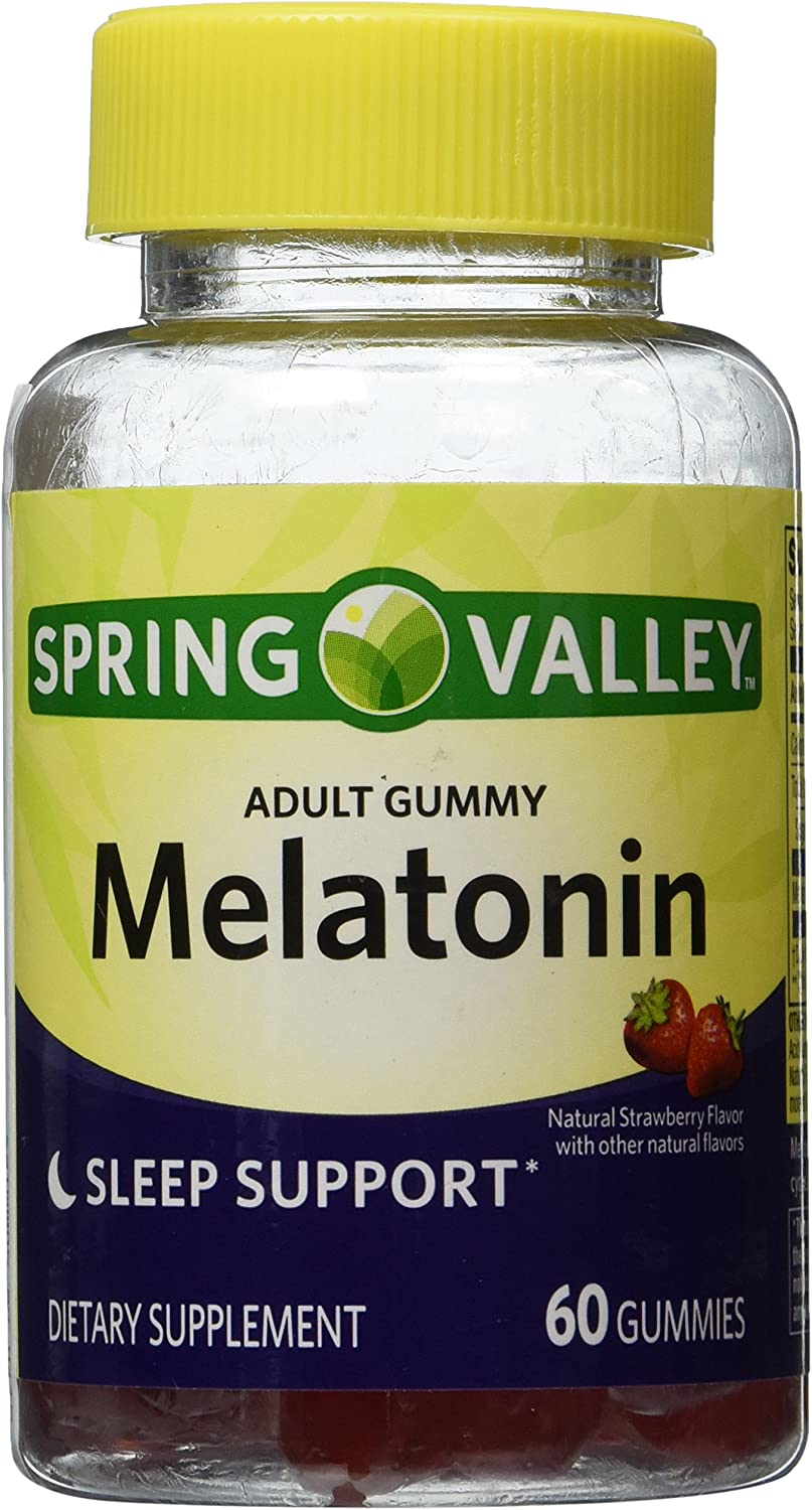 Spring Valley Adult Gummy Melatonin 5mg - Natural Strawberry Flavor - Single Bottle with 60 Gummies