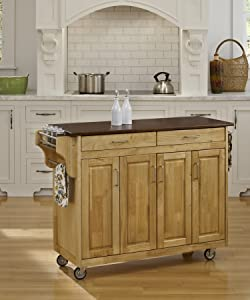 Create-a-Cart Natural Finish 4 Door Cabinet Kitchen Cart with Cherry Top by Home Styles