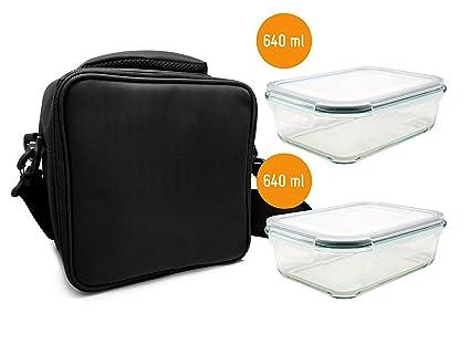 NERTHUS Lunch Bag Tuppers Fiambrera Bolsa termica Porta Alimentos, Negra + 2 Tupper Herméticos Cristal, Única