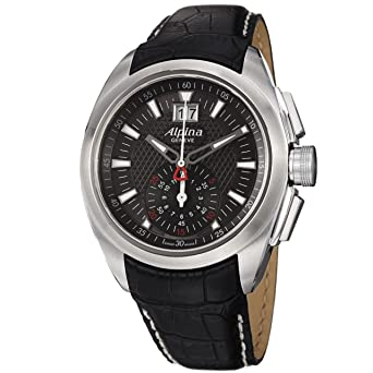 Alpina Nightlife Club Chronograph Black Dial Leather Strap Mens Watch AL353B4RC6