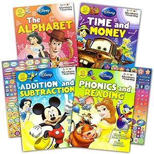 Disney Workbooks Super Set Kindergarten First Grade -- 4 Workbooks with Reward Stickers (Disney Alphabet Writing, Reading, Addition, Subtraction and More)