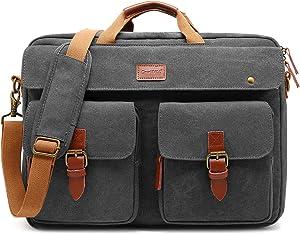CoolBELL Convertible Messenger Bag Backpack Laptop Shoulder Bag Business Briefcase Leisure Handbag Travel Bag Fits 17.3 Inch Laptop for Men/Women (Canvas Grey)