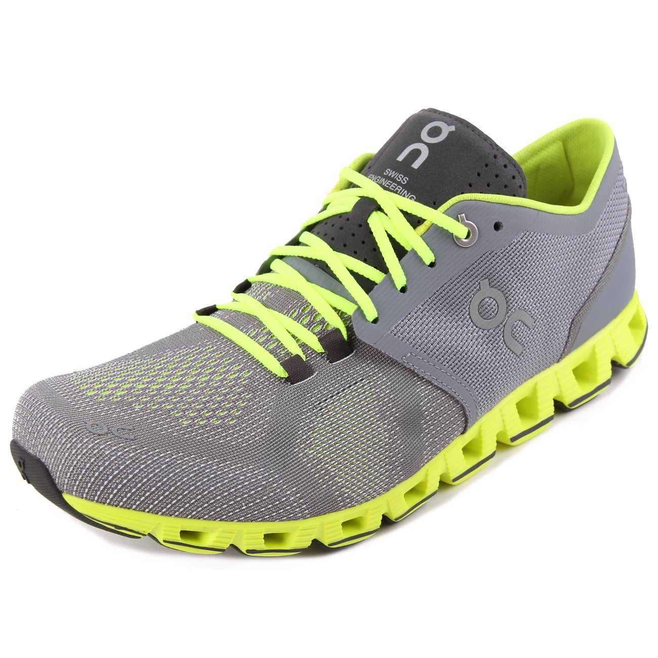 Grey Neon On Running Mens Cloud X Textile Synthetic Trainers