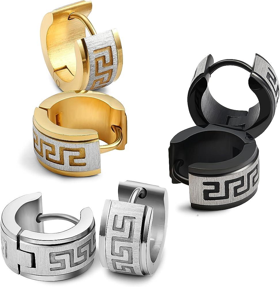 Pair Of Earrings Clips Man Teen Stainless Steel Pattern Greek Black YDE265
