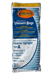 Hoover Type A Vacuum Bags, 3 Pack, Also fits Bissell Style 2 and Singer SUB-3