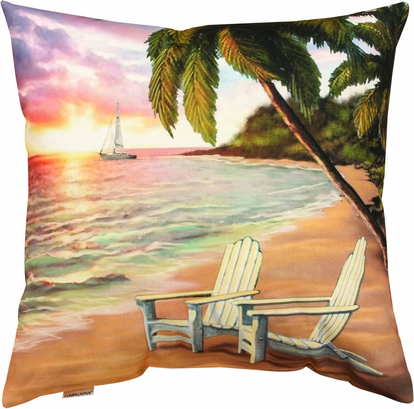 Manual Climaweave Indoor Outdoor Throw Pillow, Beach Scene Sailboat, 20 X 20-Inch