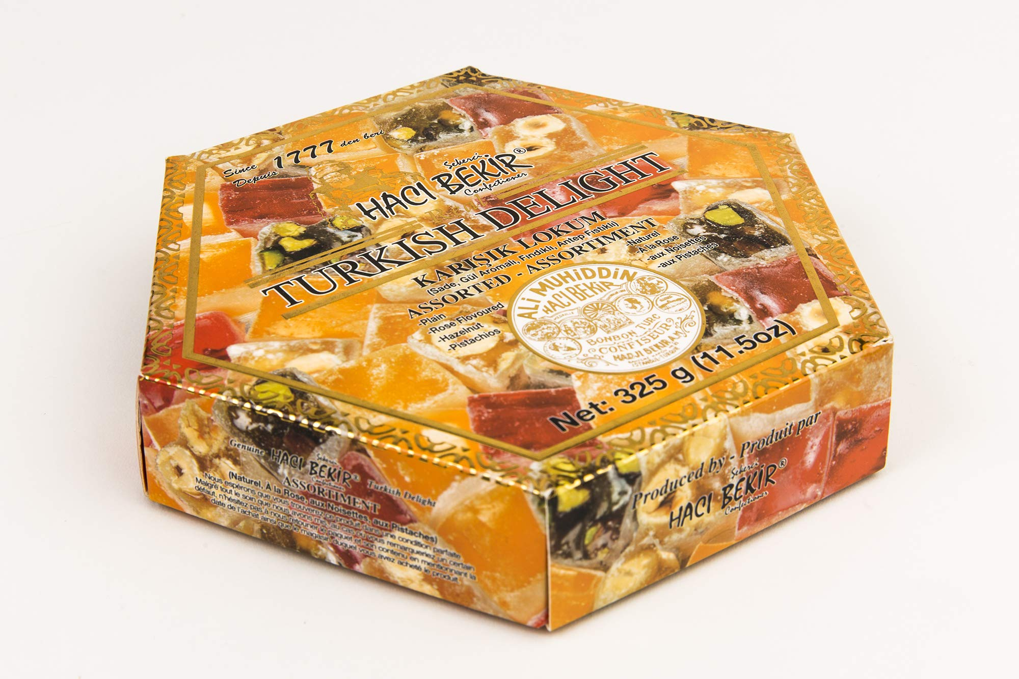 Haci Bekir Lokum Turkish Delight Mix Assorted (Plain, Rose, Hazelnut, Pistachio) 325 gr by HACI BEKIR