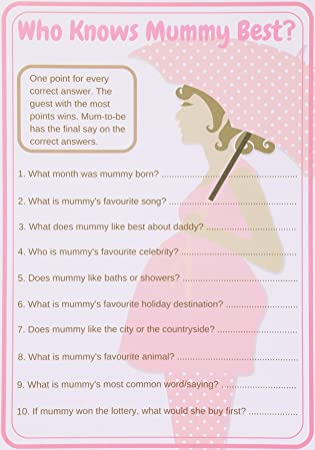 Baby Shower Games Who Knows Mummy Best Mum To Be Pink Theme Pack