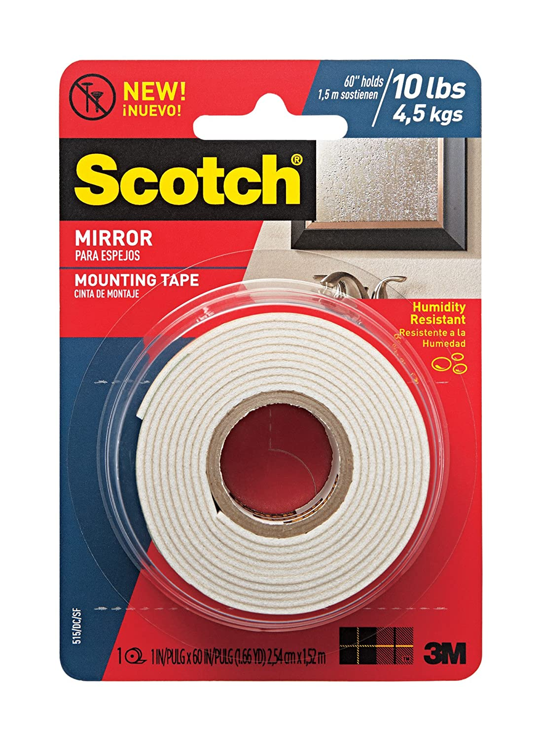Scotch Mounting, Fastening & Surface Protection 051141402895 Scotch Mirror Mounting Tape, x 60-inches, White, 1-Roll (515P), 1