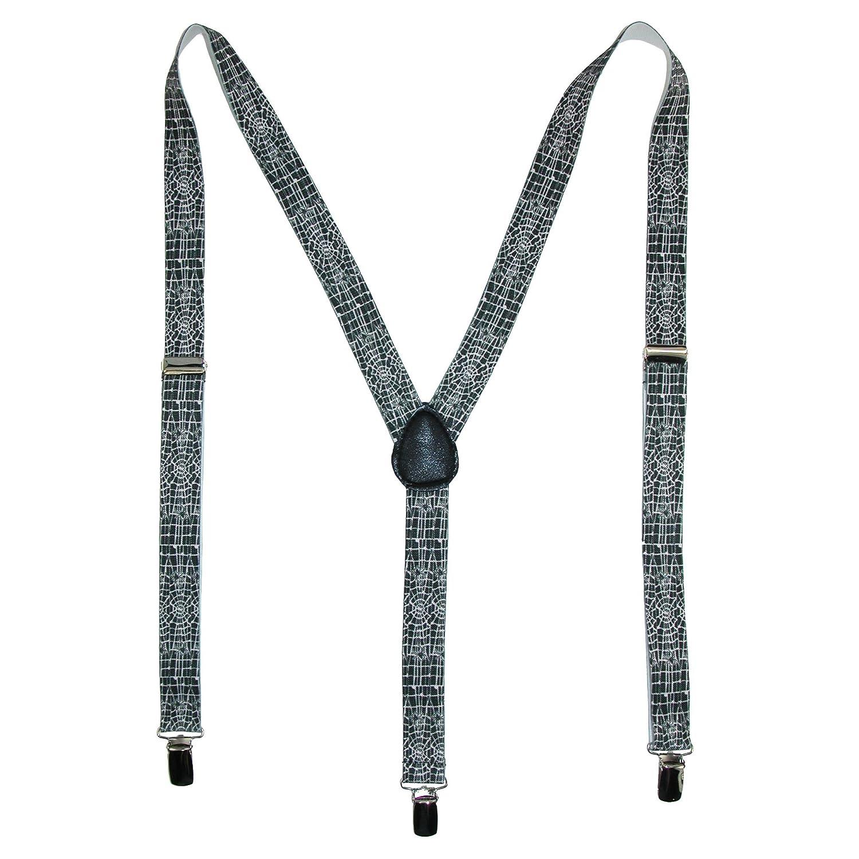 Parquet Elastic Novelty Spider Web Print Suspenders, Black