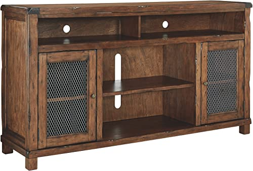Signature Design by Ashley Tamonie Extra Large TV Stand with Fireplace Option Rustic Brown