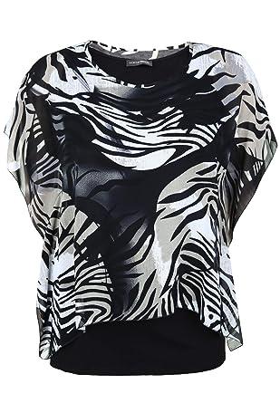 ba6ac473d45467 Doris Streich Damen Bluse mit raffiniertem Überwurf Animal-Muster Bast 46