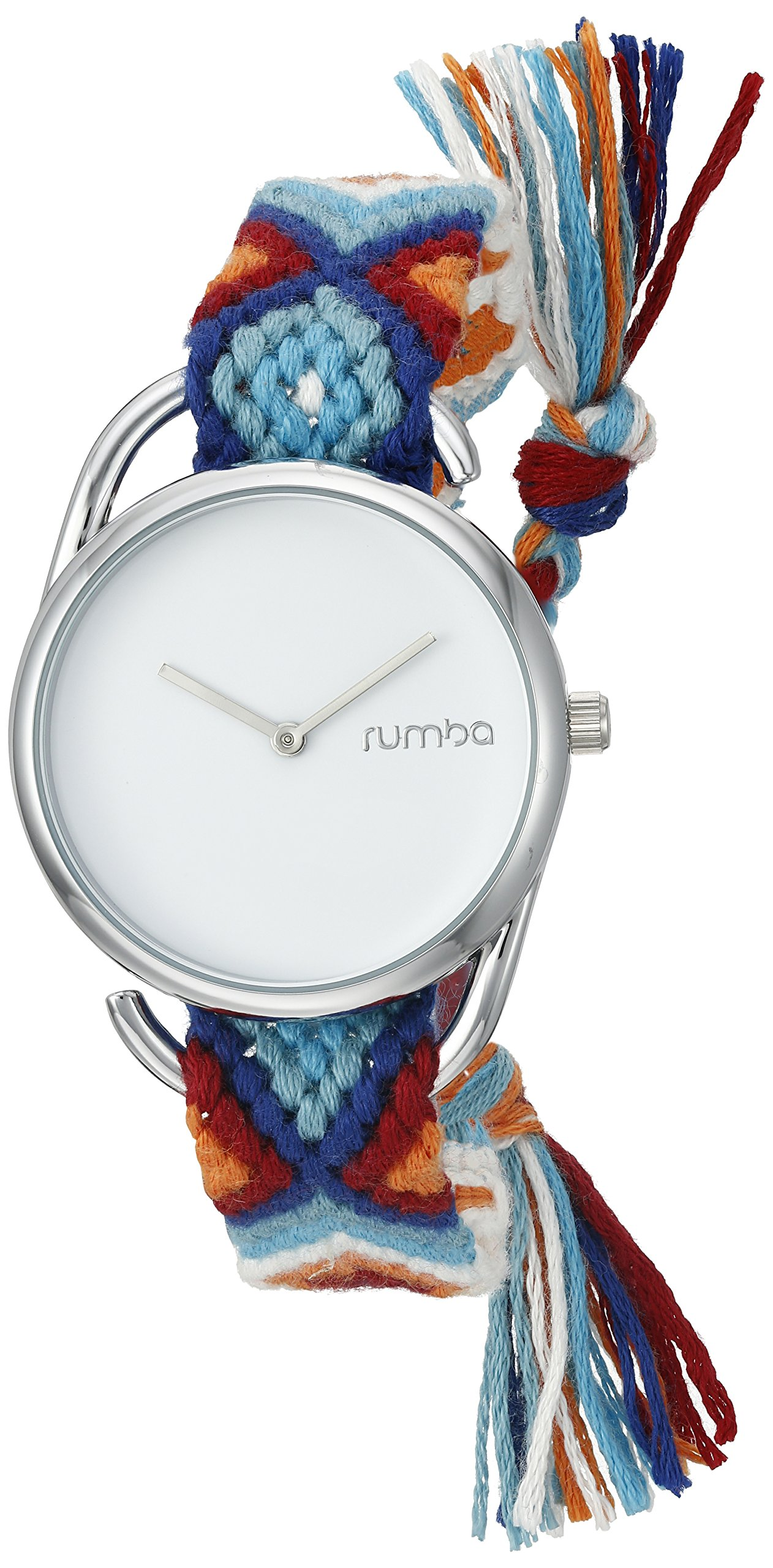 RumbaTime Women's 20076 'Jane Silver Action Against Hunger' Quartz Metal and Cloth Casual Watch