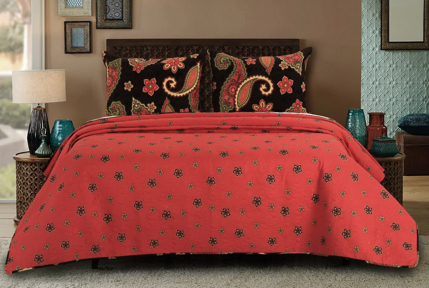 Vintage Retro Paisley Medallion Pattern Print Bedding Orange Yellow Charcoal Luxury Reversible 3 Piece Cotton Quilt Set with Shams King Size Size - Includes Bed Sheet Straps by Finely Stitched (Image #3)