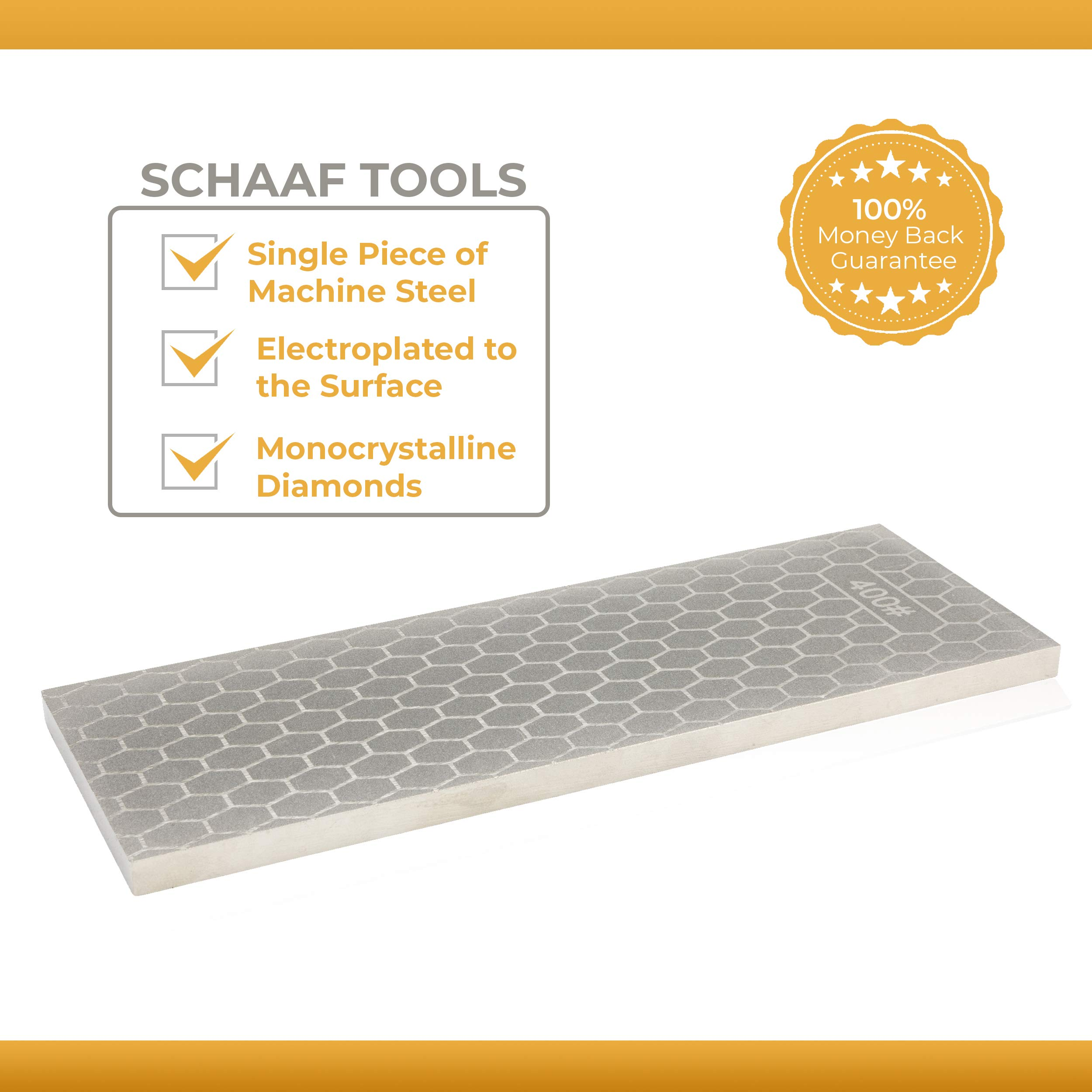 Schaaf Tools 400/1000 Grit Diamond Sharpening Stone   8 x 3 Inches   Universal Base   eBook Included by Schaaf Wood Carving Tools (Image #1)