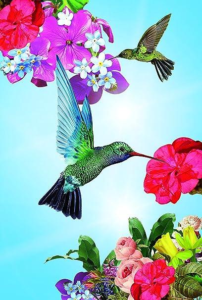 Hummingbird Garden Flag Colorful Spring Summer Blooms Double Sided 12.5u0027u0027 X  18u0027u0027