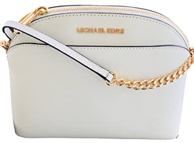 c34296d760e6 Image Unavailable. Image not available for. Color  Michael Kors Emmy  Saffiano Leather Medium Crossbody Bag White