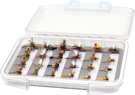 Superbe Flies 24 Adams Surtido de Pesca de Trucha de Mosca Seca | Caja de Moscas Impermeable | Tamaño de la Mosca: # 10 - # 18: Amazon.es: Deportes y aire libre