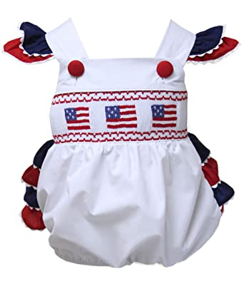 d720f20254f Amazon.com  Carouselwear Baby Girls Patriotic Bubble Romper with USA Flag  4th of July  Clothing