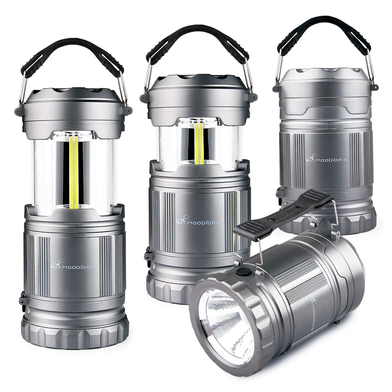 LED Camping Flashlight Lanterns Combo- Moobibear 2-In-1 Portable Tac Lantern Handheld Flashlights, Battery Powered Water Resistant Collapsible Lantern for Night Fishing, Hiking, Emergencies, 4 Pack
