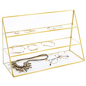 MyGift 3-Tier Retail Glass Jewelry Display Showcase with Gold-Tone Metal Frame
