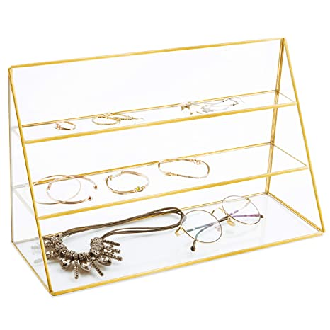 My Gift 3 Tier Retail Glass Jewelry Display Showcase With Gold Tone Metal Frame by My Gift