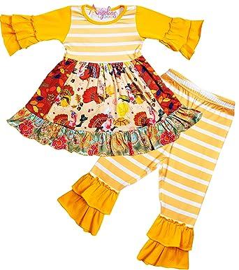 efb424da53a4 Angeline Toddler Little Girls Thanksgiving Turkey Orange Stripes Ruffles  Pant Set 12-18M/3XS