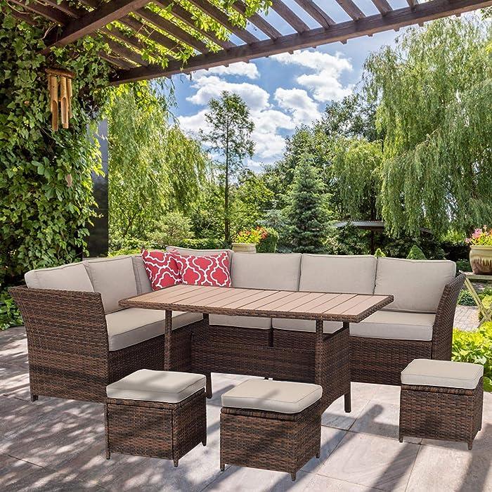 Top 8 7 Piece Rattan Wicker Sofa Sectional Furniture Set