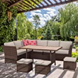Aoxun 7 Piece Outdoor Furniture Set,PE Hand-Woven Rattan Wicker Sofa Set, Patio Sectional with Dining Table and Cushions & Re