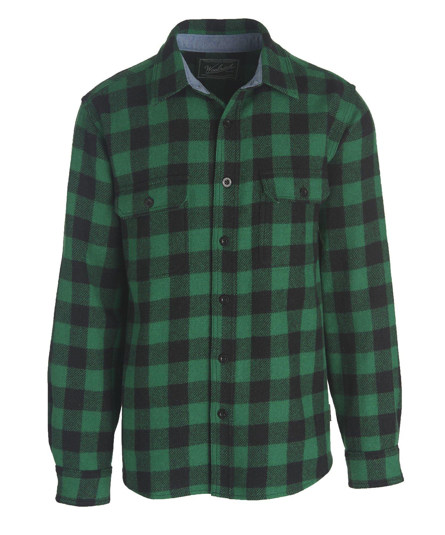 Woolrich Men's Wool Buffalo Shirt, Forest Green, Large