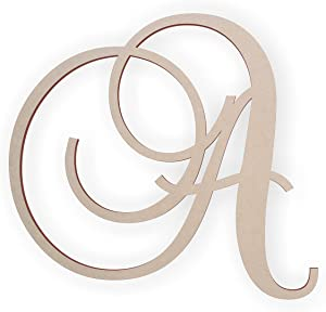 Jess and Jessica Wooden Letter A, Wooden Monogram Wall Hanging, Large Wooden Letters, Cursive Wood Letter