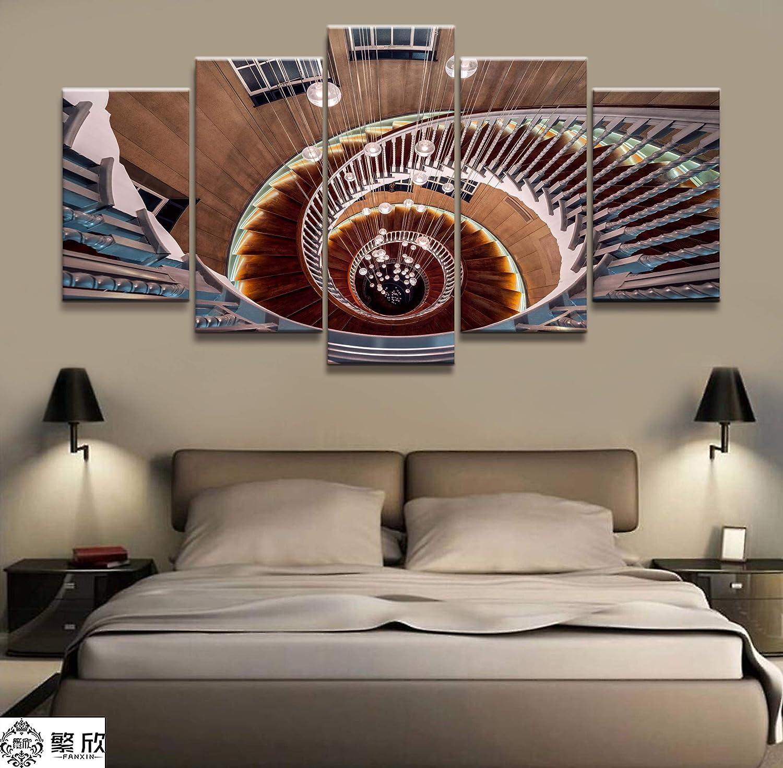 fydzyz Mejor Decoracion Wall Art Poster Painting Cuadros modulares para Sala de Estar Cuadros Decorativos Lienzo Impreso 5 Panel Escalera de Caracol Edificio: Amazon.es: Hogar