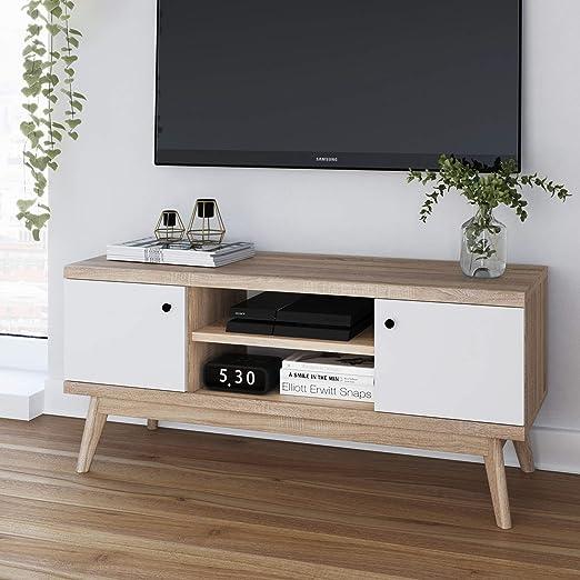 Scandinavian - Mueble de madera multifuncional para TV – Mueble de salón y dormitorio de estilo moderno y minimalista – Puertas de armario blancas y madera pálida – Tamaño mediano: Amazon.es: Juguetes y juegos