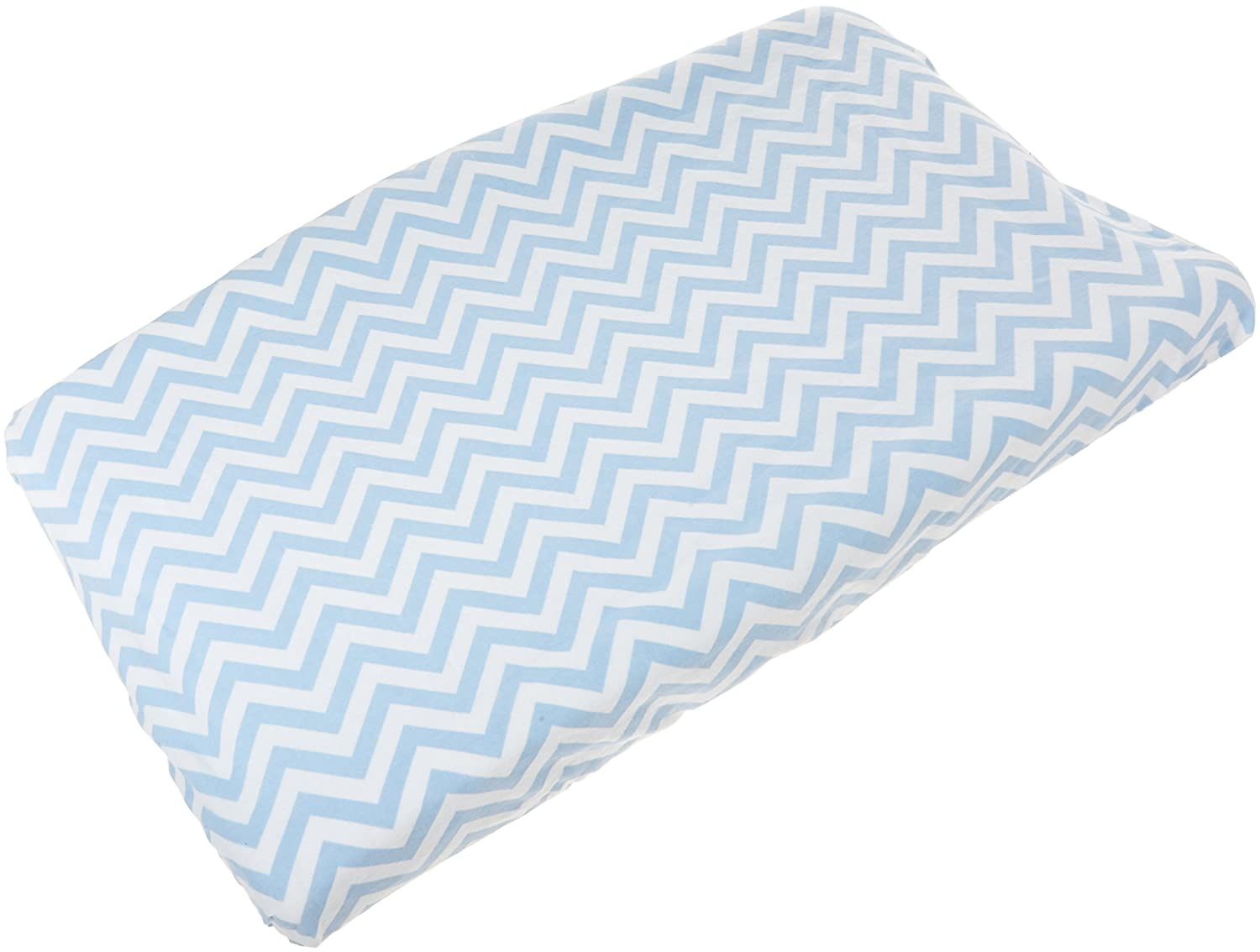Kushies Changing Pad Cover With Safety Straps, Soft 100% Breathable Cotton Flannel, Made in Canada, Blue Chevron Kushies Baby S347-505