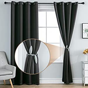 MOFV Blackout Curtain Panels - Home Decor Grommet Top Solid Room Darkening Window Treatments, Thermal Insulated Noise Reducing Drapes for Bedroom and Living Room (Black, 52''W x 63''L)