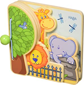 HABA Zoo Friends Wooden Book with Easy Turn Pages - 10 Months and Up