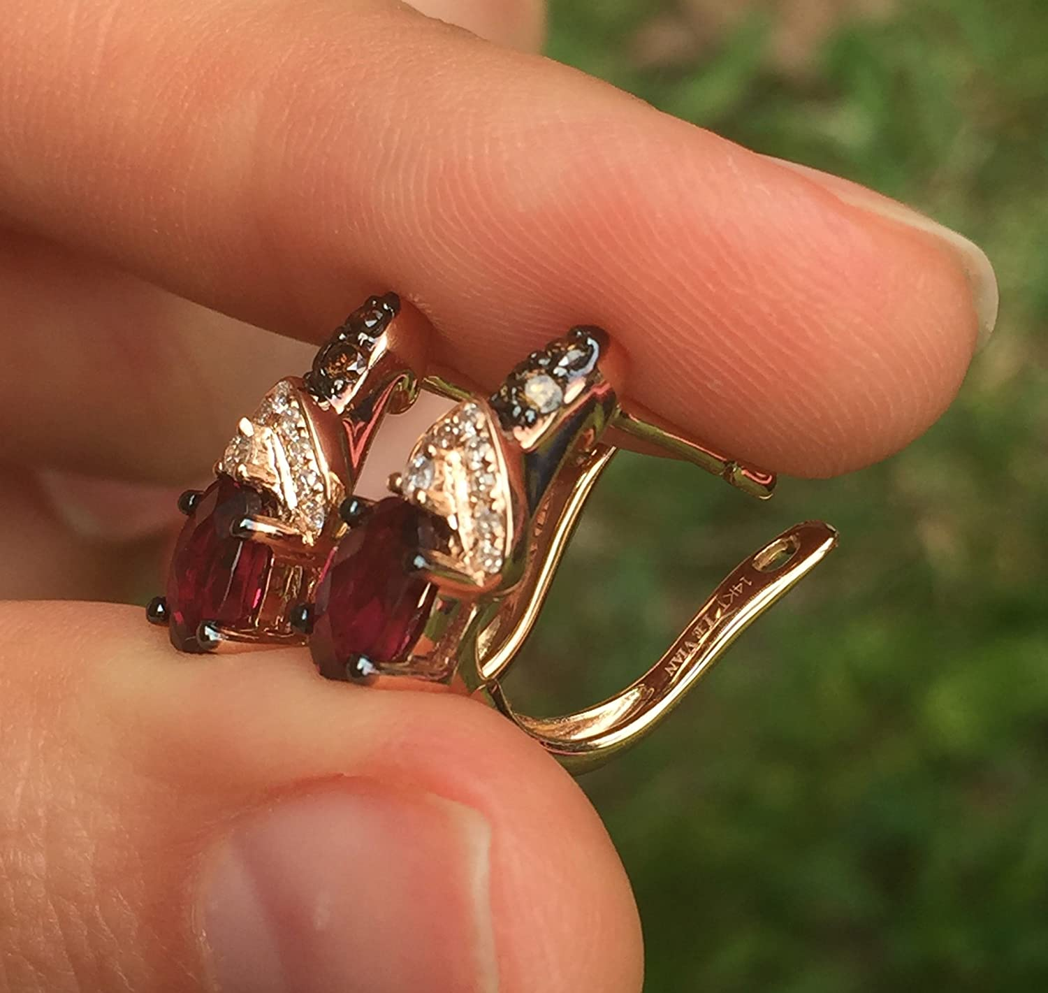 LeVian Rhodolite Garnet Chocolate and Vanilla Diamonds 1.30 cttw Earrings 14k Solid Rose Gold NEW