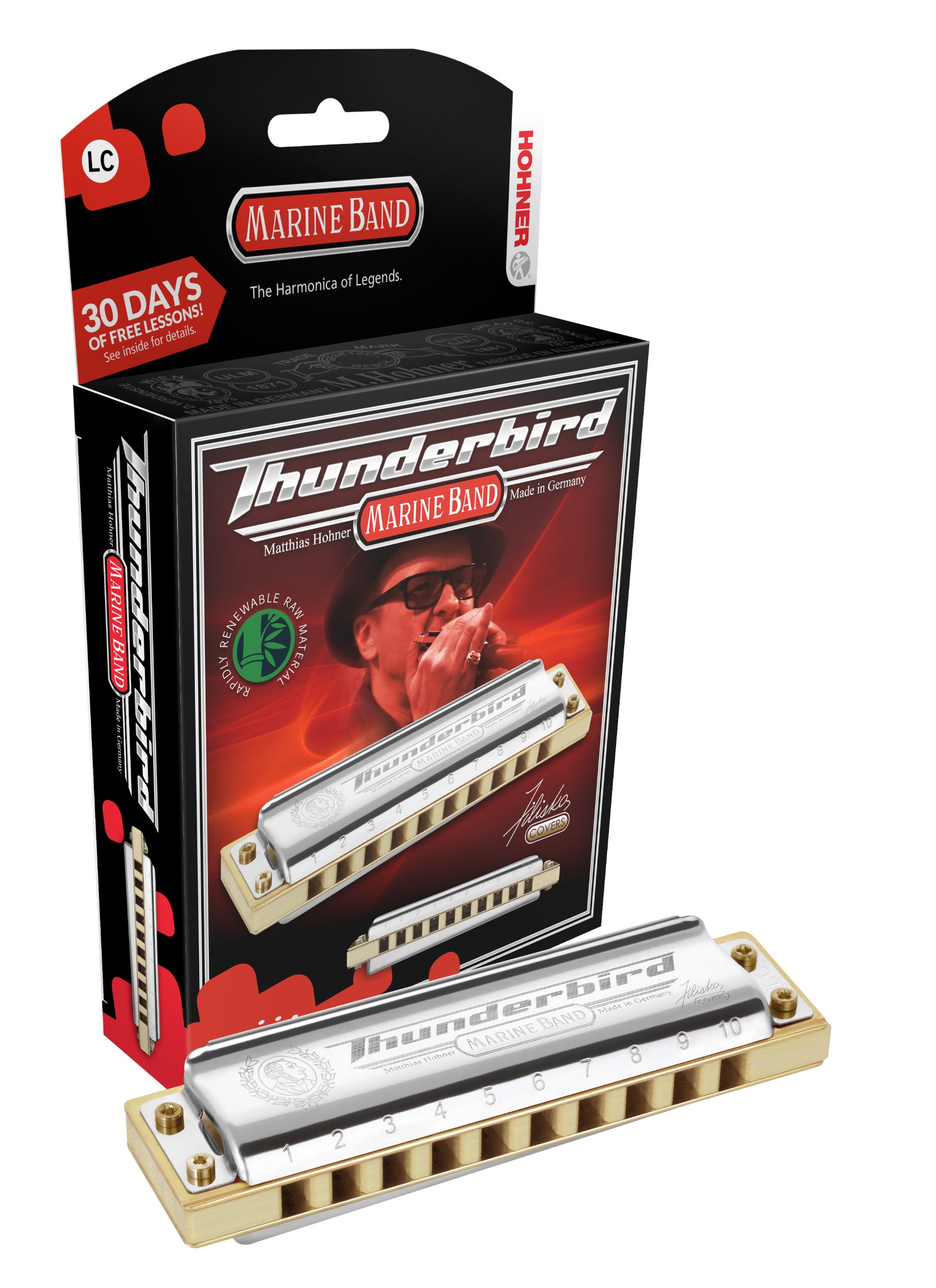 Hohner M2011BXL-F Marine Band Thunderbird Diatonic Harmonica, Key of Low F