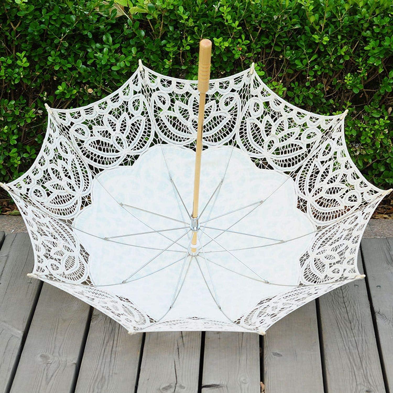 Handmade Lace Sunny Umbrella Process Lace Umbrella Photography Recital Dance Wedding Decoration Sun Umbrella,White