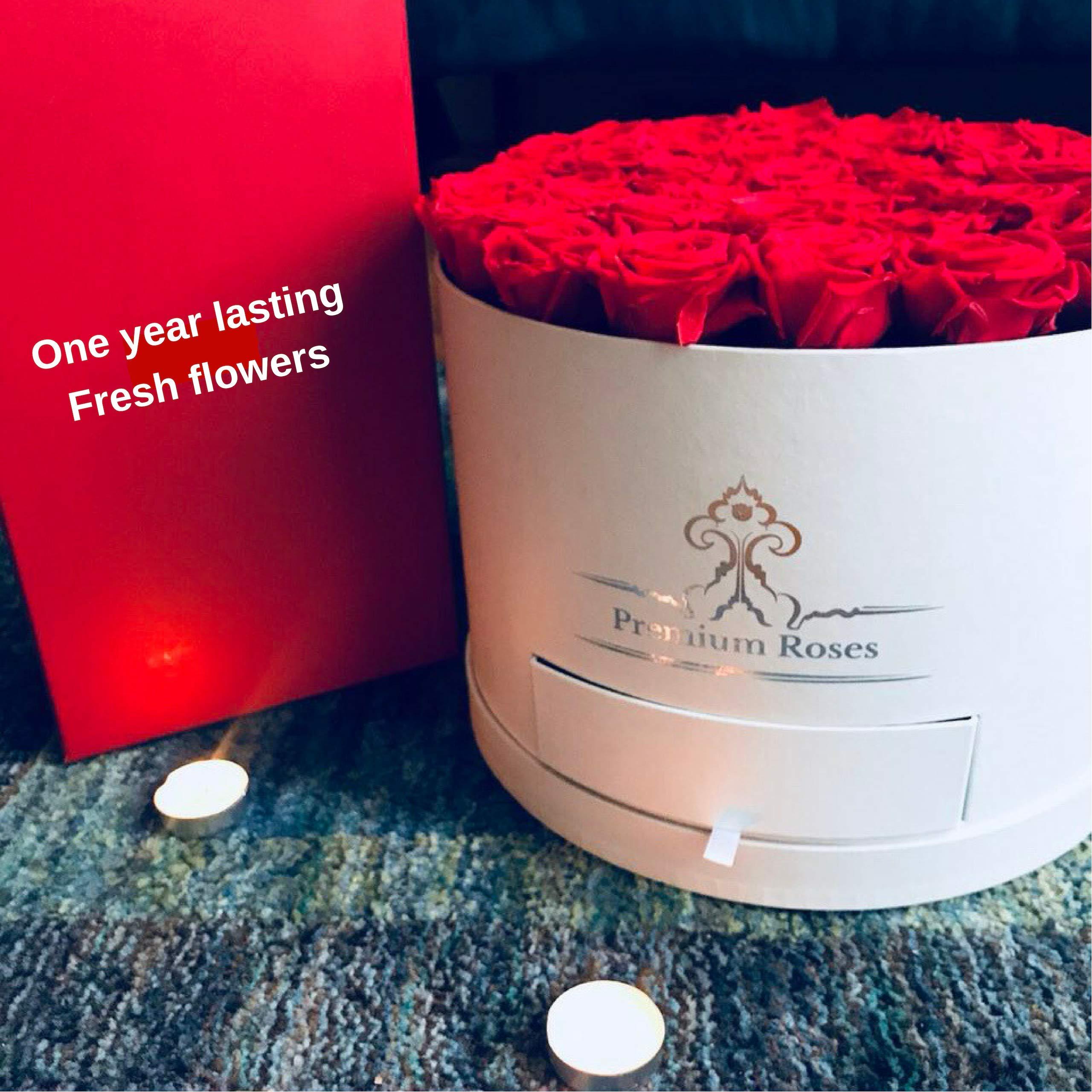 Premium Roses| Model White| Real Roses That Last 365 Days| Fresh Flowers (White Box, Large) by Premium Roses (Image #3)