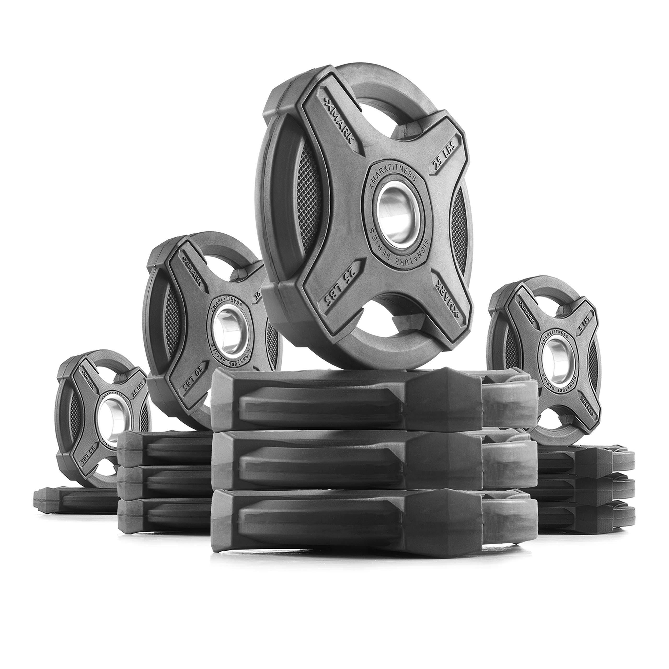 XMark 165 lb Set Signature Plates, One-Year Warranty, Olympic Weight Plates, Cutting-Edge Design