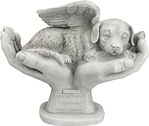 Design Toscano KY69912 In God's Hands Dog Pet Grave Memorial Outdoor Garden Statue